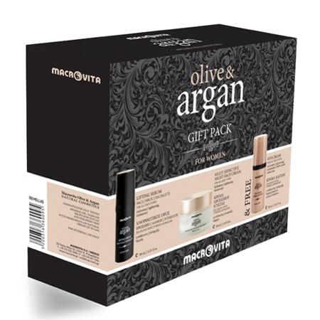 ZESTAW MACROVITA OLIVE&ARGAN: krem na noc do każdego rodzaju cery 50ml + liftingujące serum na twarz, szyję i dekolt 30ml + GRATIS krem pod oczy 30ml